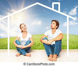 hipoteka, para, śniący, młody, concept:, mieszkaniowy, dom, families.