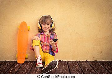 hipster, skateboard, dziecko