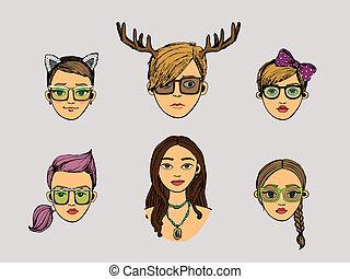 hipster, styl, głowy, dziewczyny