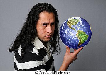 hispanic człowiek, dzierżawa, ziemia
