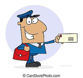 hispanic, pocztowy pracownik, szczęśliwy
