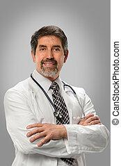 hispanic, uśmiechanie się, doktor