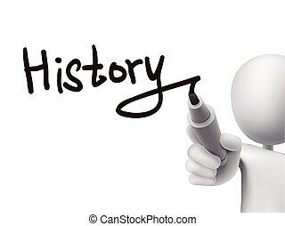 historia, człowiek, 3d, słowo, pisemny