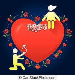 historia, miłość, symbol, ludzki, :, poślubiać