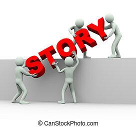 historia, pojęcie, -, 3d, ludzie