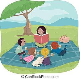 historia, stickman, słuchać, dzieciaki, piknik, książka
