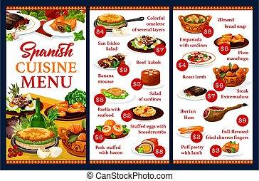 hiszpańska kuchnia, menu, restauracja, półmiski
