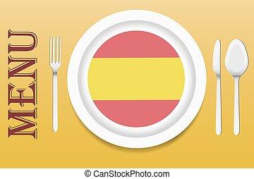hiszpańska kuchnia, wektor, menu