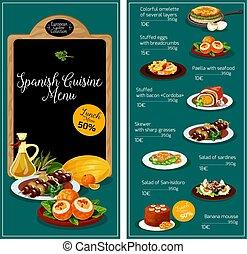 hiszpańska kuchnia, wektor, menu, restauracja