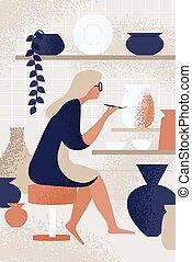 hobby, szczotka, studio, osoba, uśmiechanie się, ceramist, malarstwo, wektor, garncarstwo, garnek, cieszący się, dekorowanie, korzystać, płaski, pracujący, entuzjastyczny, kobieta, twórczy, illustration., porcelana, ceramiczny, workshop., handmade, samica