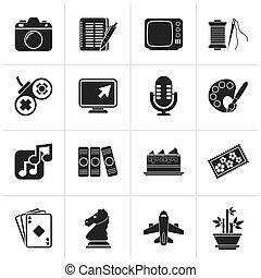 hobby, wolny czas, ikony