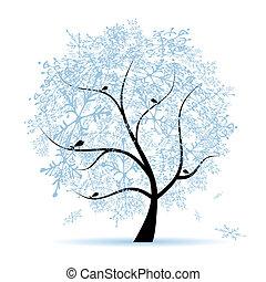 holiday., zima, choinka, snowflakes.