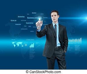 holographic, series., handlowy, collection., młody, faktyczna rzeczywistość, przyszłość, rozłączenia, wybierając, interface., biznesmen, jeden