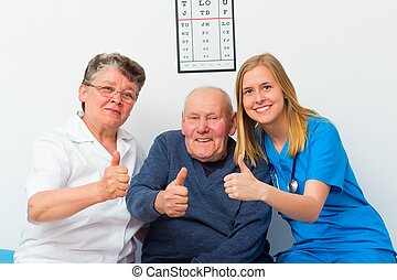 homecare, kciuki, starszy, do góry