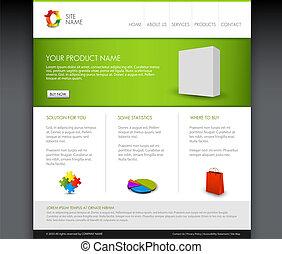 homepage, wektor, szablon, nowoczesny, produkt