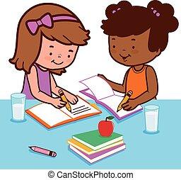 homework., studenci, ilustracja, ich, wektor, biurko