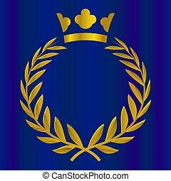 honor, illustration., złoty, królewska korona, color., zwycięstwo, wektor, jakość