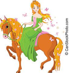 horse., jeżdżenie, księżna, wiosna