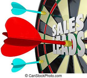 horyzont, sprzedajcie, klientela, zbyt, doprowadzenia, deska, strzałka
