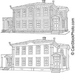 house., rys, wektor, rysunek, illustration.