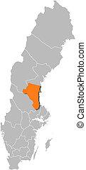hrabstwo, mapa, gaevleborg, highlighted, szwecja