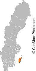 hrabstwo, mapa, gotland, highlighted, szwecja
