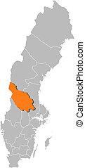 hrabstwo, mapa, highlighted, dalarna, szwecja