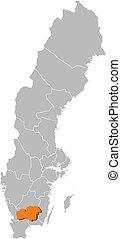 hrabstwo, mapa, highlighted, kronoberg, szwecja
