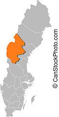 hrabstwo, mapa, highlighted, szwecja, jaemtland