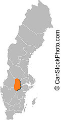 hrabstwo, mapa, highlighted, szwecja, oerebro