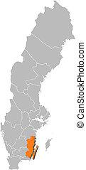 hrabstwo, mapa, kalmar, highlighted, szwecja