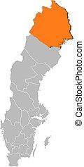 hrabstwo, mapa, norrbotten, highlighted, szwecja