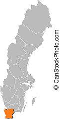 hrabstwo, skane, highlighted, szwecja, mapa