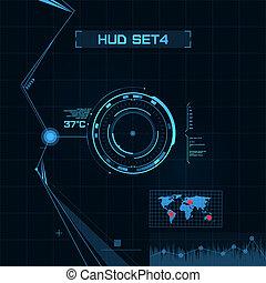 hud, gui, użytkownik, interface., set., futurystyczny