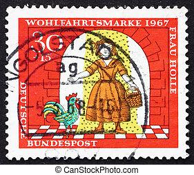 hulda, złoty, macierz, tłoczyć, 1967, -, scena, deszcz, 1967:, niemcy, drukowany, pod, dziewczyna, circa, widać