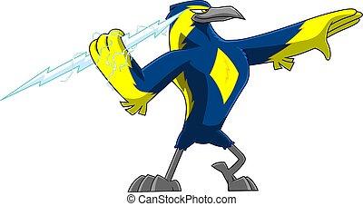 ?hunderbolt, rysunek, thunderbird, dzierżawa, sprytny, litera, ptak, cielna
