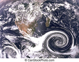 huragan, chmury, ocean
