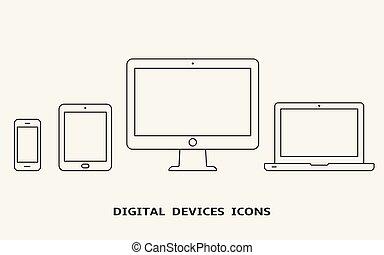 hydromonitor, komplet, szkic, tabliczka, icons., laptop, pc, wektor, urządzenie, smartphone