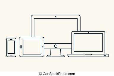 hydromonitor, smartphone, szkic, tabliczka, icons., laptop, pc, wektor