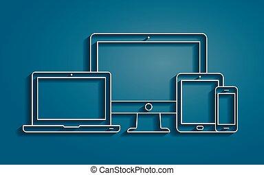 hydromonitor, smartphone, szkic, tabliczka, ikony, laptop, pc, wektor