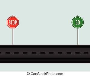 iść, zatrzymywać, ścieżka, droga znaczą