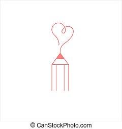 icon., blogger, logo, poznaczcie., serce, ołówek, pisanie, courses.