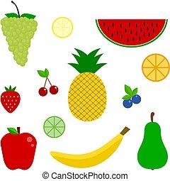icon., komplet, owoc