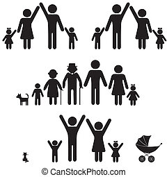 icon., ludzie, sylwetka, rodzina