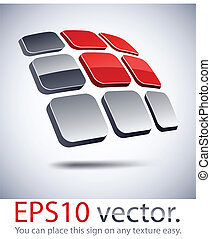 icon., nowoczesny, słoneczny, logo, bateria, 3d