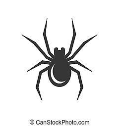 icon., wektor, czarnoskóry, pająk