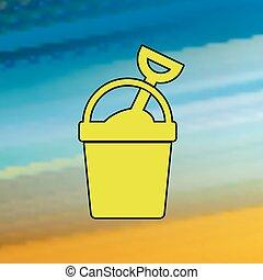 icon., wektor, lato, kolor, mono, albo, ui, piasek, website, naturalne ikony, zastosowanie, wiadro, ux, ruchomy