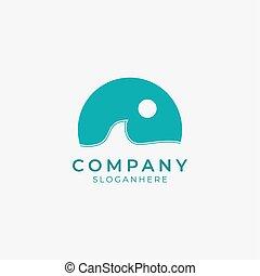 icon.eps, machać, fale przybrzeżne, logo, ocean