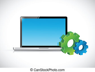 icons., laptop komputer, przybory, ilustracja