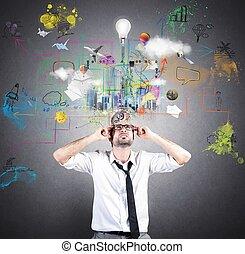 idea, handlowy, twórczy